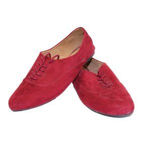 Aldo Suede Burgundy Oxford Flat Lace Up Shoes